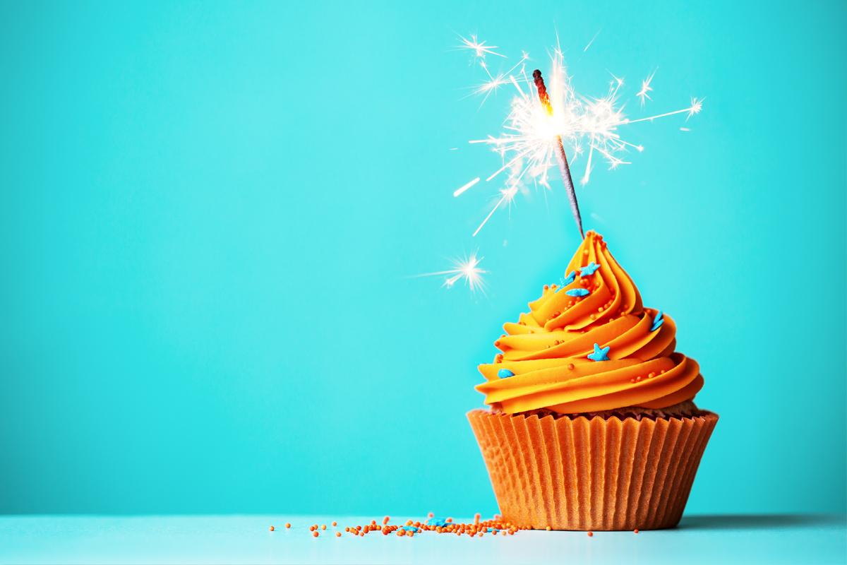 Orange cupcake with sparkler
